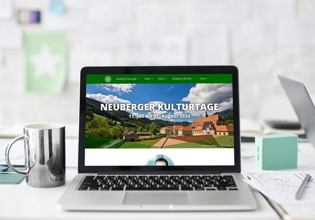 Webseite Verein Neuberger Kulturtage Ansicht Laptop